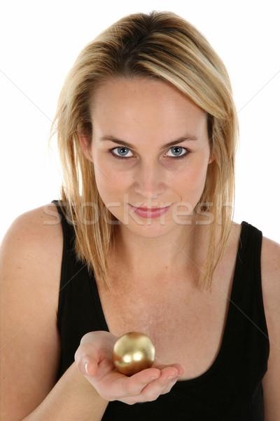Złote jajka metafora dość młodych blond kobieta Zdjęcia stock © fouroaks