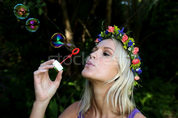 Pretty Bubble Blower Girl Stock photo © fouroaks