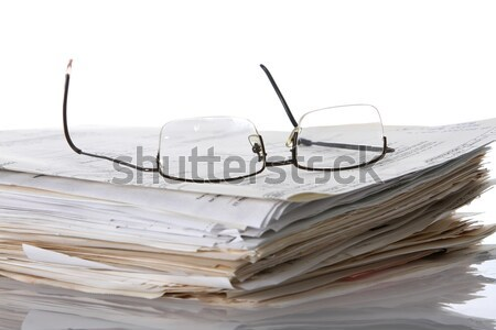 Olvasószemüveg papírok felső köteg tervek iratok Stock fotó © fouroaks