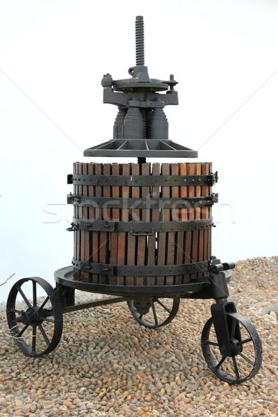 Foto stock: Antigo · vinho · imprensa · antigo · África · do · Sul · máquina