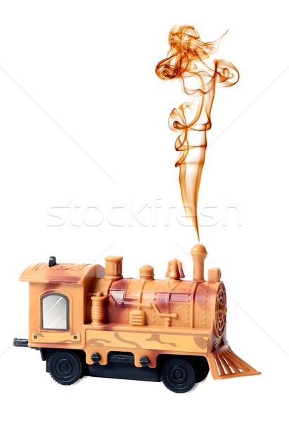 Stockfoto: Stoom · motor · locomotief · speelgoed · rook · schoorsteen