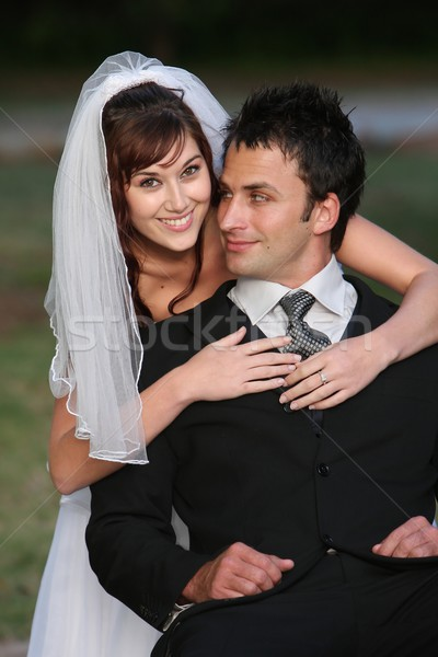 Stockfoto: Prachtig · gelukkig · bruiloft · paar · mooie · jonge