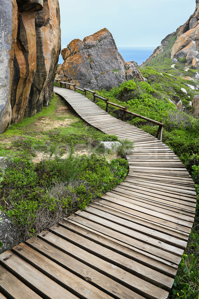 Wood Walkway and Rocks at Coast Stock photo © fouroaks
