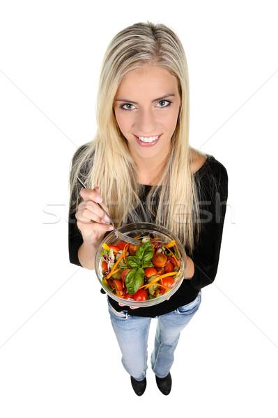 女性 サラダ 美しい スリム 少女 食べ ストックフォト © fouroaks