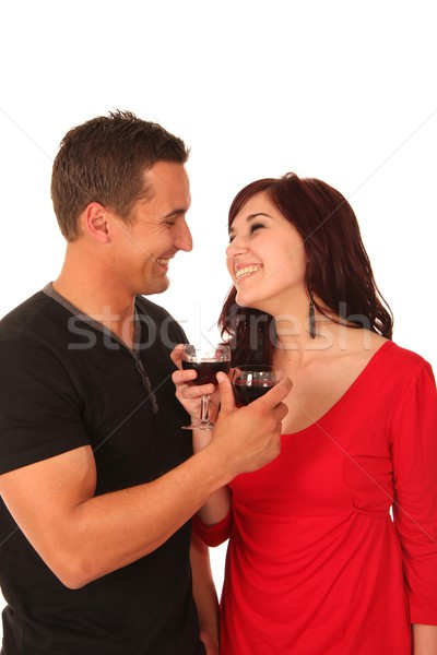 Pretty Couple with Wine Stock photo © fouroaks