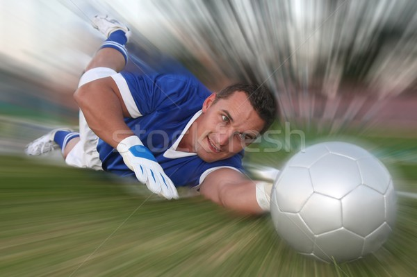 Salvare diving stop soccer ball speciale Foto d'archivio © fouroaks