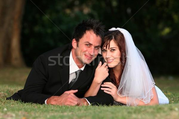 Zdjęcia stock: ślub · para · trawy · piękna · odkryty