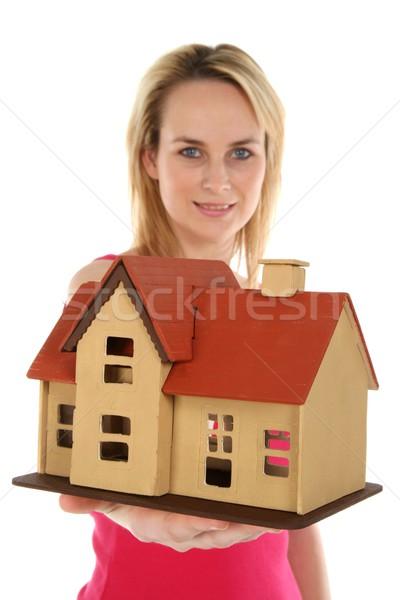 Huis verkoop jonge blond makelaar dame Stockfoto © fouroaks