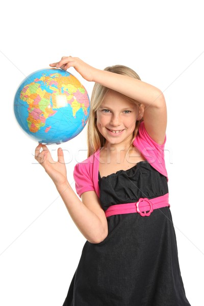 Preteen Girl Holding World Globe Stock photo © fouroaks