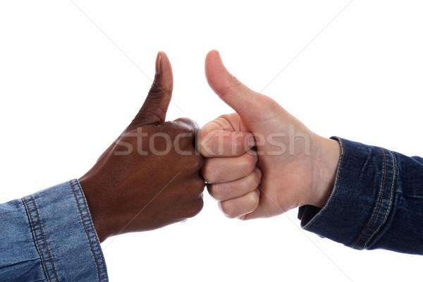 Racial assinar africano mulher negra caucasiano Foto stock © fouroaks