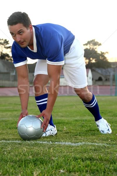 Voetballer bal gratis boete kick handen Stockfoto © fouroaks