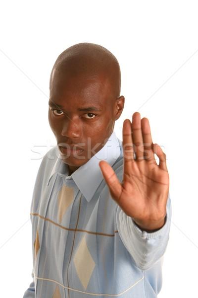アフリカ 男 一時停止の標識 小さな 手 アップ ストックフォト © fouroaks