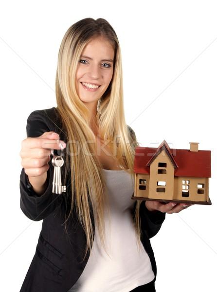 不動産業者 女性 かなり 笑みを浮かべて キー モデル ストックフォト © fouroaks