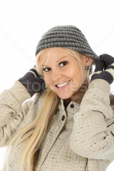 Blond Beauty in Winter Dress Stock photo © fouroaks