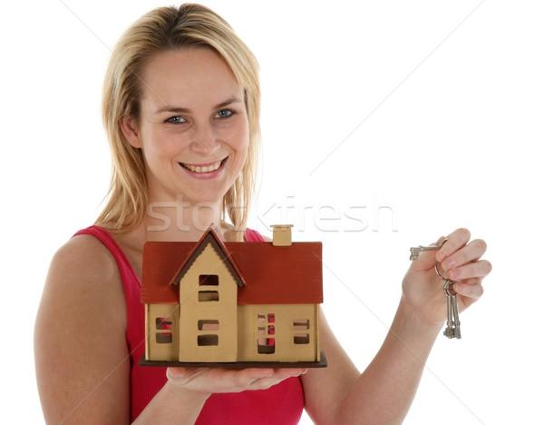 家 販売 かなり 小さな ブロンド 不動産業者 ストックフォト © fouroaks