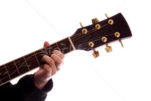 Gitaar akoestische gitaar vingers spelen muziek Stockfoto © fouroaks