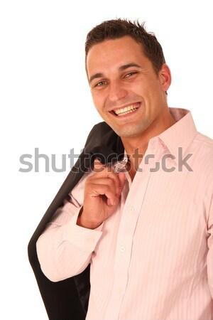 ハンサム 笑みを浮かべて 男 若い男 ジャケット 肩 ストックフォト © fouroaks