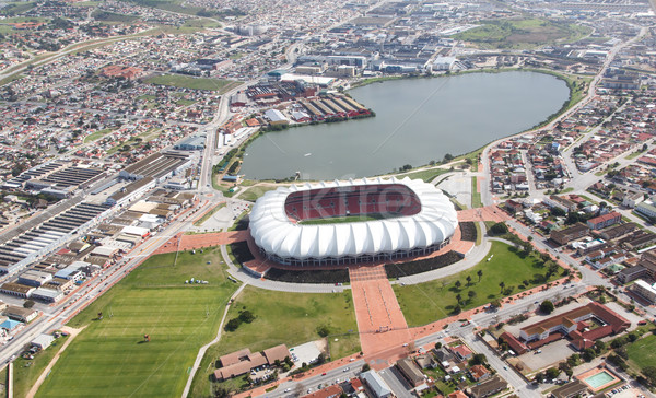 Arial View of Soccer Stadium and Lake Stock photo © fouroaks
