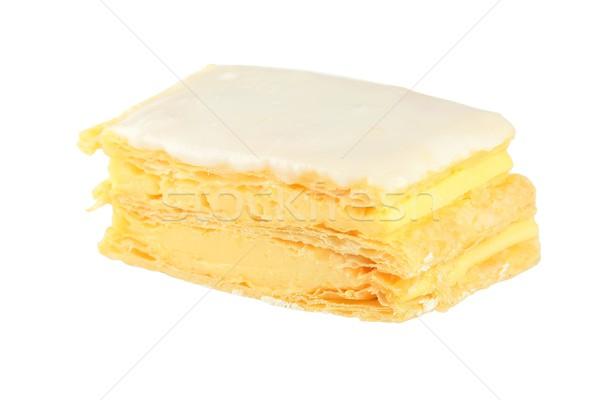 Vla plakje geïsoleerd banketbakkerij glazuursuiker voedsel Stockfoto © fouroaks