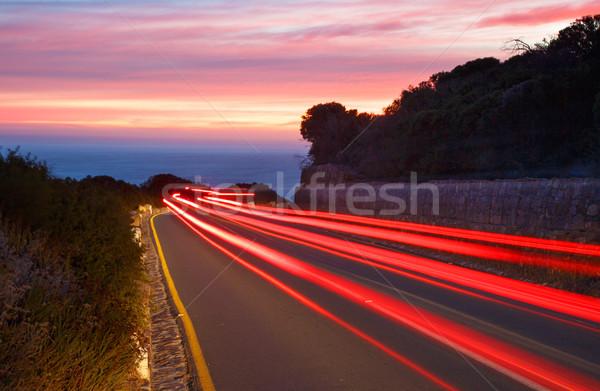 Zonsondergang auto licht auto weg Stockfoto © fouroaks