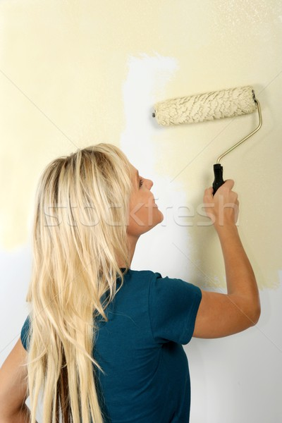 Pretty Blonde Painting Girl Stock photo © fouroaks