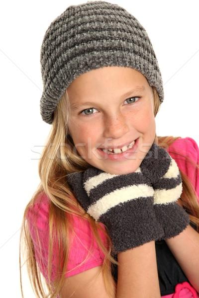 笑みを浮かべて 子供 着用 手袋 若い女の子 ストックフォト © fouroaks