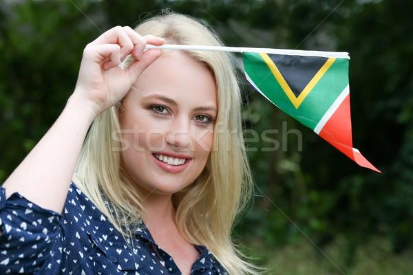 Nő dél-afrikai zászló csinos fiatal hölgy Stock fotó © fouroaks