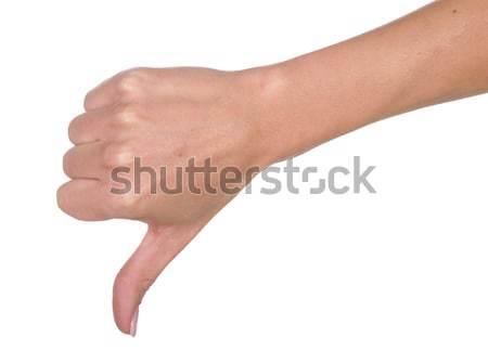 Hüvelykujjak lefelé negatív felirat gyönyörű kéz Stock fotó © fouroaks