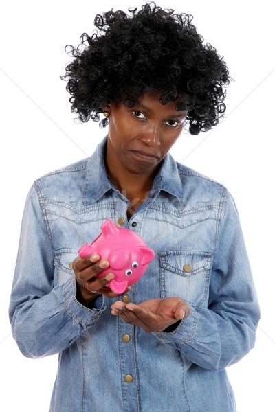 Szomorú afrikai hölgy nincs pénz nő persely Stock fotó © fouroaks