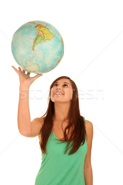 Gorgeous Brunette Lady with World Globe Stock photo © fouroaks