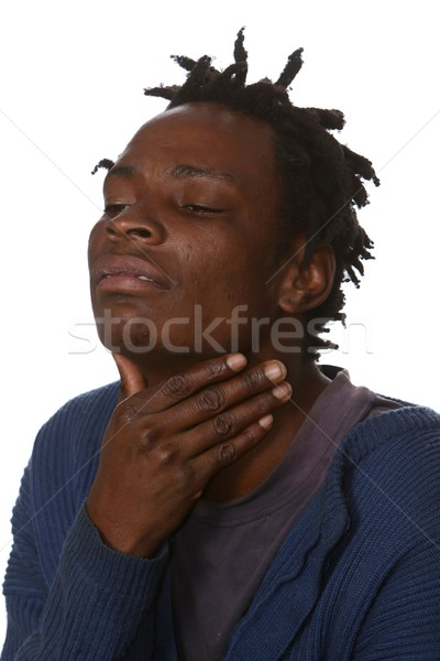 Afrikaanse man keelpijn arme zwarte hand Stockfoto © fouroaks