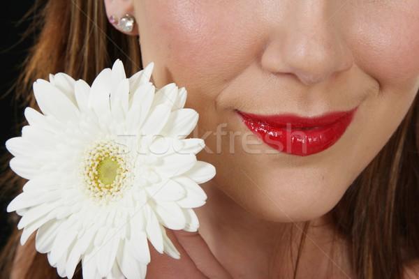 Red Lips and White Flower Stock photo © fouroaks