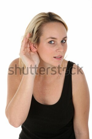 Pretty Blond Girl Hard of Hearing Stock photo © fouroaks