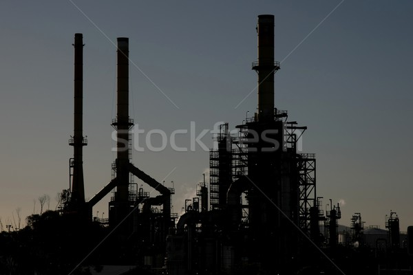 Oil Refinery Facory Silhouette Stock photo © fouroaks