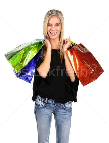 Stok fotoğraf: Alışveriş · bayan · renkli · çanta · sarışın