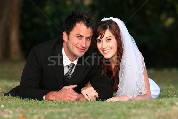 Zdjęcia stock: ślub · para · odkryty · piękna · trawy