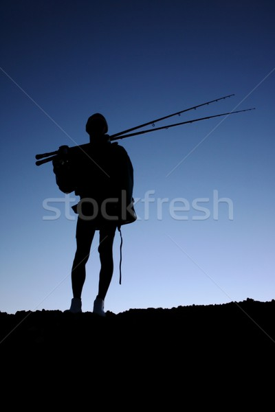 Fisherman or Angler Silhouette Stock photo © fouroaks