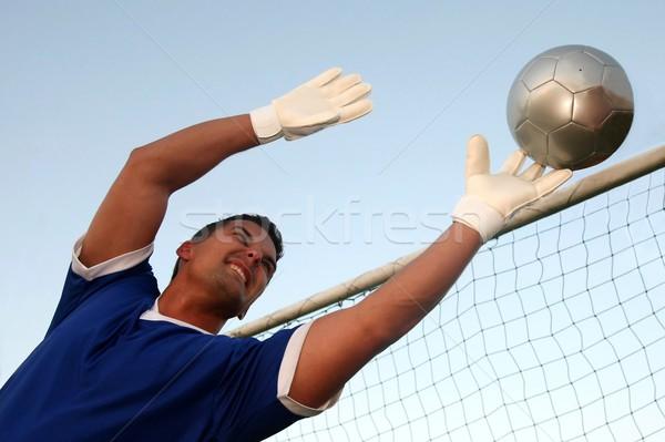 Voetbal doelverdediger stoppen bal sport Stockfoto © fouroaks