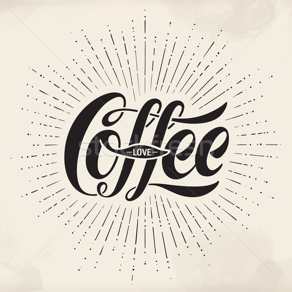 Hand-drawn lettering inscription Coffee Love on watercolor background. Typographic and calligraphic. Stock photo © FoxysGraphic