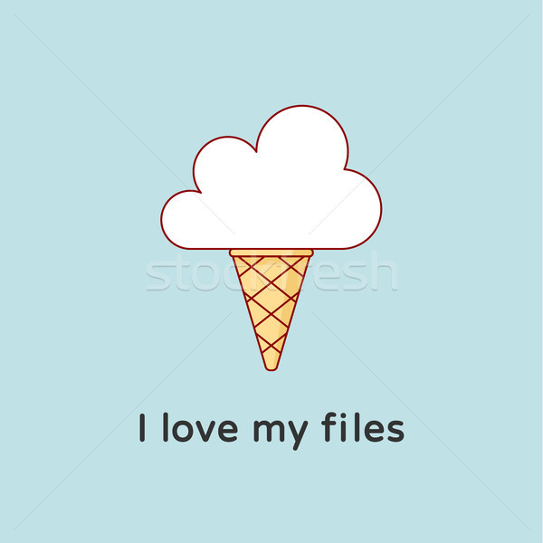 Icon of Cloud with icecream. Creative concept graphic design Stock photo © FoxysGraphic