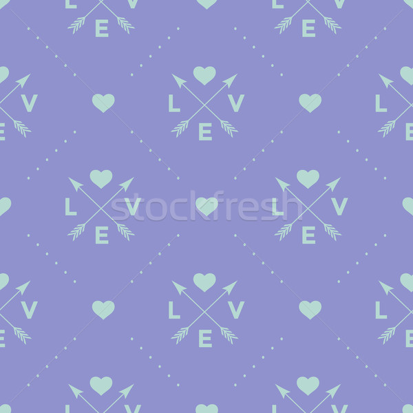 Seamless turquoise pattern with arrow, heart and word Love on a violet background. Vector illustrati Stock photo © FoxysGraphic