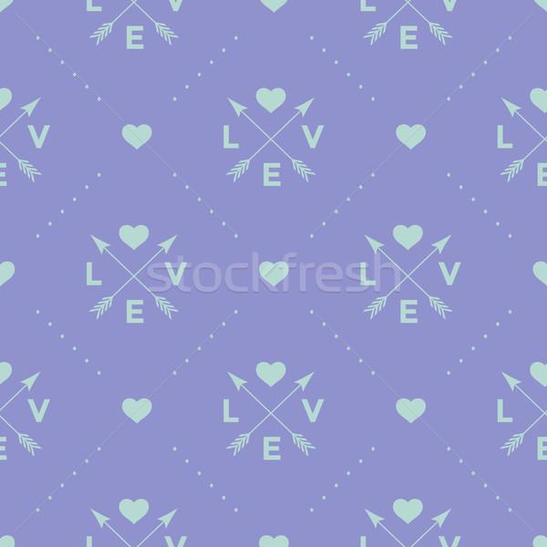 Sin costura turquesa patrón flecha corazón palabra Foto stock © FoxysGraphic