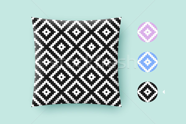 Seamless modern stylish texture and graphic pattern. Black repeating absract geometric tiles with do Stock photo © FoxysGraphic