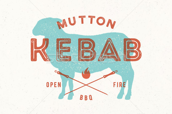 Lamb, kebab. Poster for Butchery meat shop Stock photo © FoxysGraphic