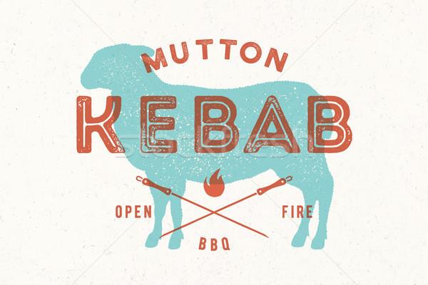 Lam kebab poster vlees winkel vintage Stockfoto © FoxysGraphic