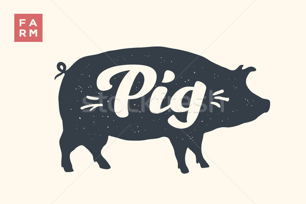 Isolated pig silhouette with lettering Stock photo © FoxysGraphic