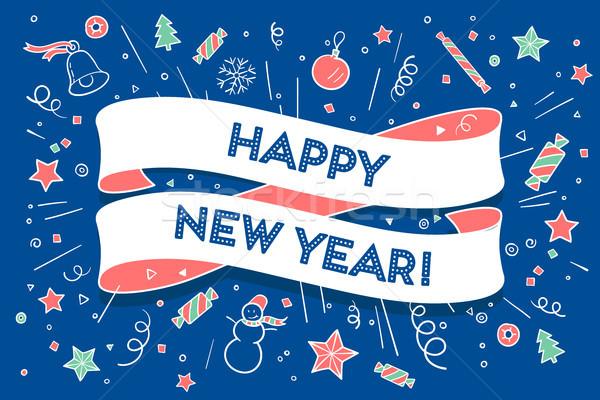 Trendi szalag szöveg boldog új évet üdvözlőlap karácsony Stock fotó © FoxysGraphic