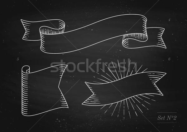 セット 古い ヴィンテージ リボン バナー 彫刻 ストックフォト © FoxysGraphic