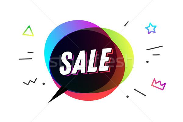 Vásár szalag szövegbuborék poszter matrica mértani Stock fotó © FoxysGraphic