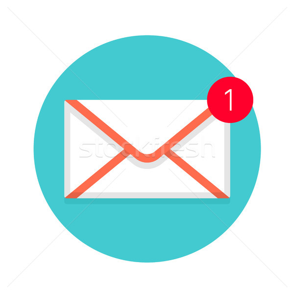 Icon of new mail envelope. White envelope with red marker Stock photo © FoxysGraphic
